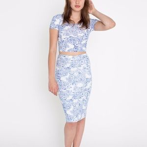 NWOT American Apparel Floral Ponte Midi Skirt